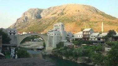The Old bridge over the Neretva River — Stock Video
