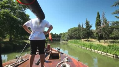 Travelling on a wooden boat — Stock Video