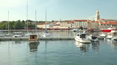 Boats in harbour of old town Krk — Stock Video
