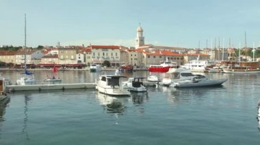 Boats in harbour of old town Krk — Video Stock