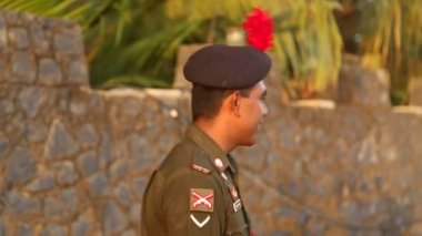 Portrait of guard at Galle fort — Stock Video
