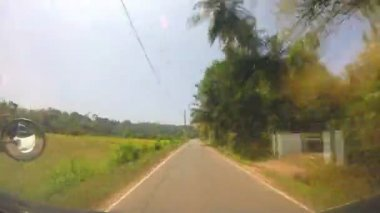 Sri Lankan countryside landscape from moving vehicle — Stock Video