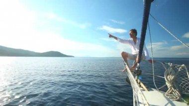 Man enjoying sailing — Stock Video