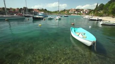 Boats in harbour — Stock Video