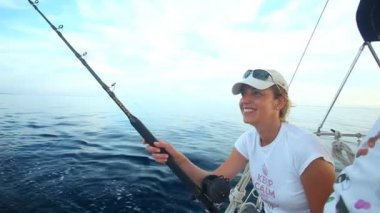 Woman fishing with rod — Stok video