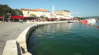 Harbour in old town of Krk — Stock Video