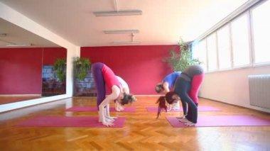 Women doing yoga on rubber mats — Video Stock