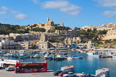 Mgarr harbour with view of church — Stock Photo