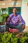 Indian człowiek sprzedaż warzyw — Zdjęcie stockowe