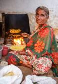 Indian female vendor — Stock Photo