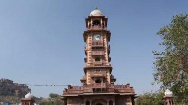 Clock tower in Jodhpur. — Stock Video