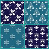 4 Christmas gift wrapping paper designs — Stock Vector