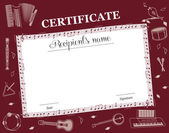 Music Course Certificate — Stock Vector
