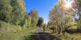 A Woman Cyclist Rides in the Fall — Foto de Stock