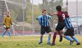 A Trio of Youth Soccer Players Compete — 图库照片