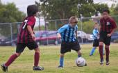 A Group of Youth Soccer Players Compete — Stok fotoğraf