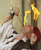 A Fire-Eater at the Arizona Renaissance Festival — Stock Photo