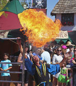 A Performer Spits Fire at the Arizona Renaissance Festival — Stock Photo