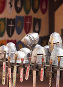 An Assortment of Helmets, Shields and Swords — Stock Photo