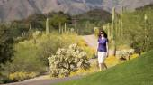 A Woman Walking in the Sonoran Desert — Stock Photo