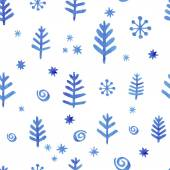 Watercolor seamless pattern with blue snowflakes — Stock Vector