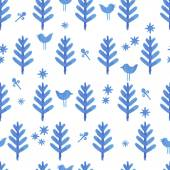Watercolor seamless pattern with blue trees — Vettoriale Stock