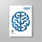 Cover Book Digital Design Brain Concept Template — Stock Vector