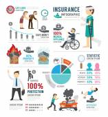 Insurance Template Design Infographic — Stock Vector