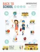 Education School Design Infographic — Cтоковый вектор