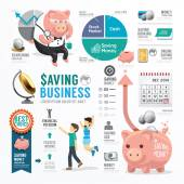 Money Saving Business  Infographic. — Stock Vector