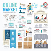Business Market Online  Infographic . — Stock Vector