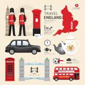 Londen, Verenigd Koninkrijk plat pictogrammen ontwerp — Stockvector