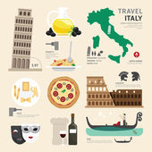 Italy Flat Icons Design — Stock Vector