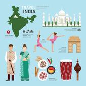 India Landmark Flat Icons — Stock Vector