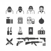 Icons set of terrorist design. — Stock Vector