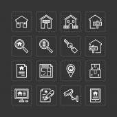 Icons set of real estate property — Stock Vector