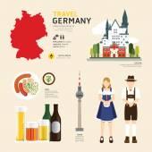 Flat Icons Design of Germany Landmarks — Stock Vector