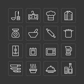 Flat icons set of kitchen cooking tools — Vector de stock