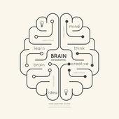 Plansza edukacji zarys mózgu koncepcja. — Wektor stockowy