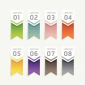Banners de progresso com Etiquetas coloridas de fita. — Vetor de Stock