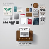 Infographic travel business flat lay idea — Stock Vector