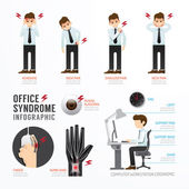 Infographic office syndrome Template — Stock Vector