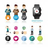Smartwatch infographic menu connection — Stock Vector