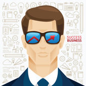 Businessman with arrow on sunglasses — Stock Vector