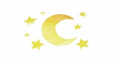 Stars and moon cartoon animation — Stock Video
