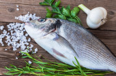 Raw fish gilt-head bream — Stock Photo