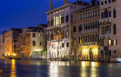 Night view of Grand Canal in Venice — Stock Photo