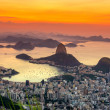 Sunset view of mountain Sugar Loaf and Botafogo in Rio de Janeiro — Stock Photo #63806517
