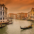 Sunset view of Grand Canal with gondolas in Venice — Stock Photo #64999153