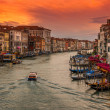Sunset view of Grand Canal with gondolas in Venice — Stock Photo #70221795